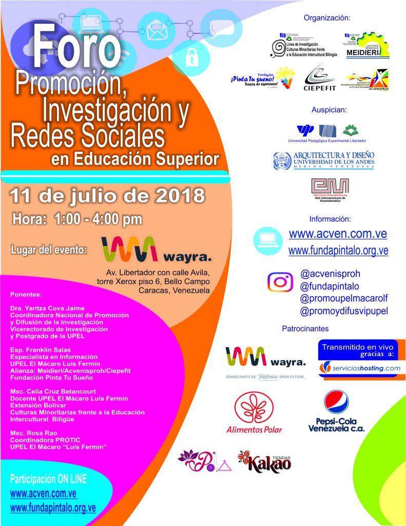 Foro: Investigacion, Difusión y Redes Sociales en Educación Superior_2017