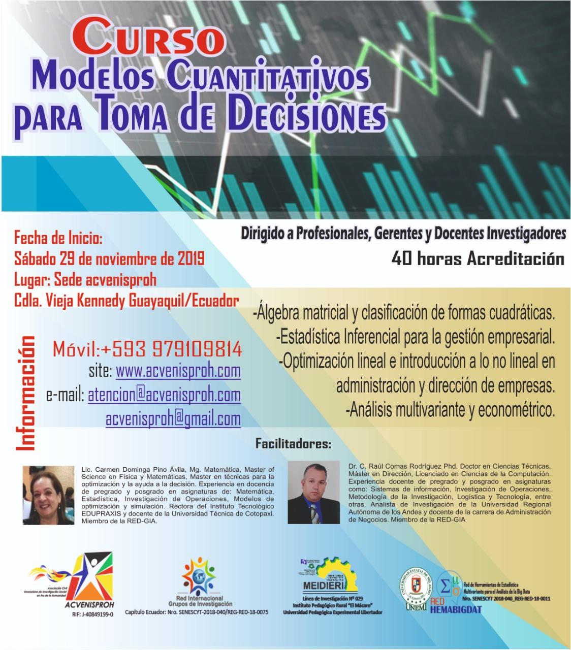 Curso: Modelos Cuantitativos para la Toma de Decisiones