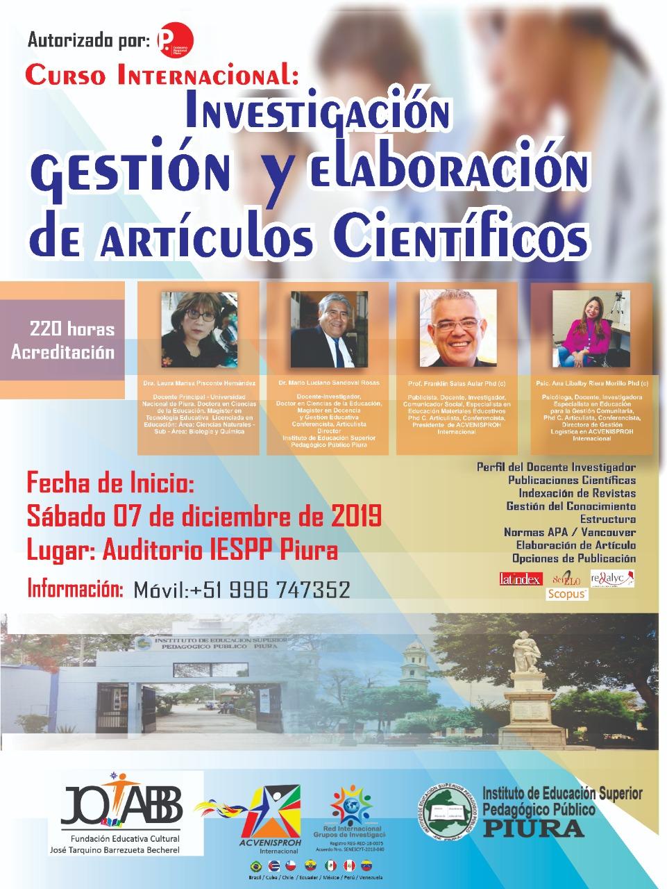 Curso Internacional: Investigación, Gestión y Elaboración de Artículos Científicos
